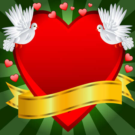 day saint valentin: Postal to the day of saint Valentin with a heart and white pigeons, vector illustration