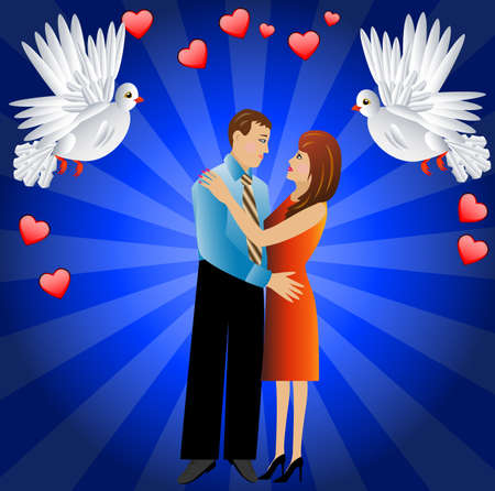 day saint valentin: young loving couple and two white fondling,a vector illustration Illustration