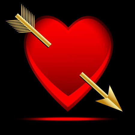 heart pierced by an arrow, postal to the day of saint Valentin,vector illustration Vector