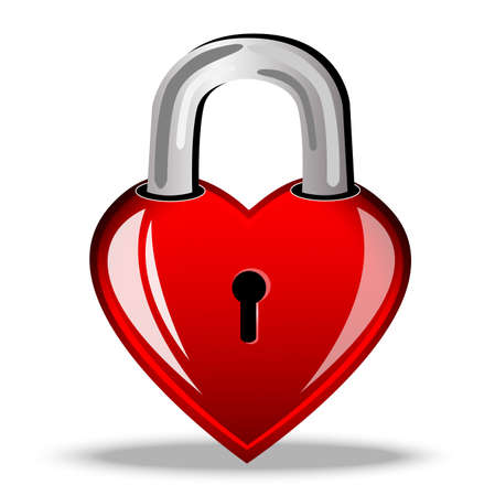 day saint valentin: heart as a lock, postal to the day of saint Valentin, vector illustration