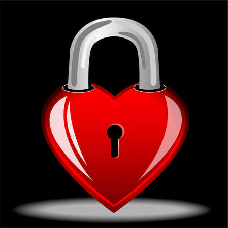 day saint valentin: heart as a lock, postal to the day of saint Valentin,vector illustration