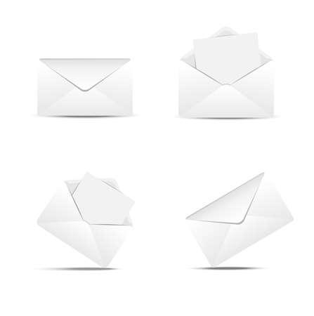Four paper envelopes on a white background,  vector  illustration
