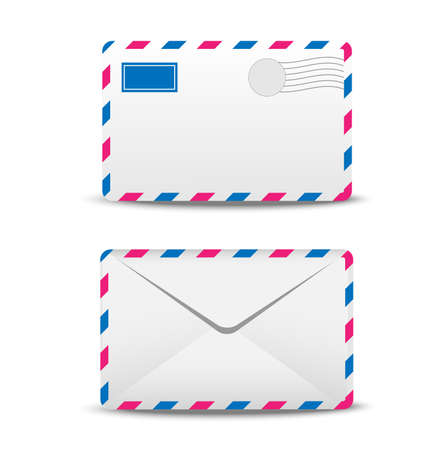 addressee: two envelopes air on a white background,  vector  illustration