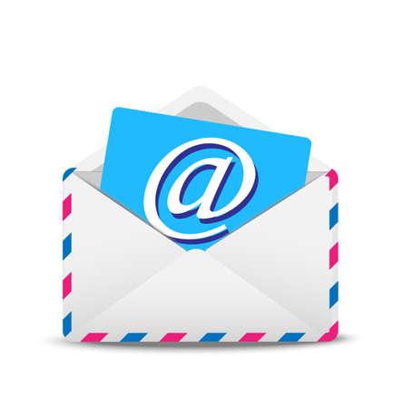 open envelop lucht met het pictogram van de elektronische brief binnen, vector illustratie Stock Illustratie