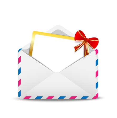 open envelope air with a greeting-card inwardly,  vector  illustration Illustration