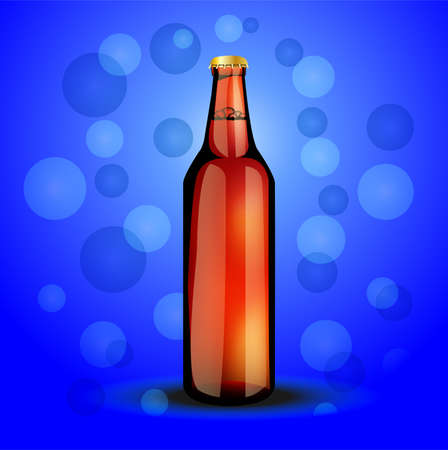 carbonated: glass bottle  with the carbonated drink,  vector  illustration Illustration