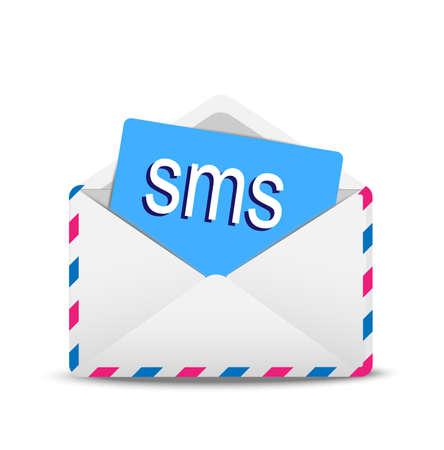 """open envelop lucht met de tekst """"SMS"""" innerlijk, vectorillustratie"""