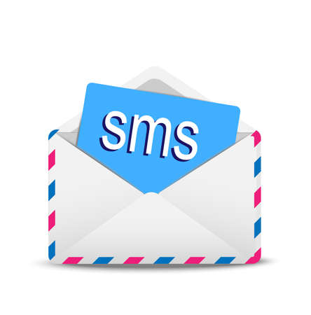 open envelope air with text '  SMS' inwardly,  vector  illustration Vector