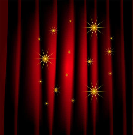 portiere: brightly red curtain, a background for design,  vector  illustration