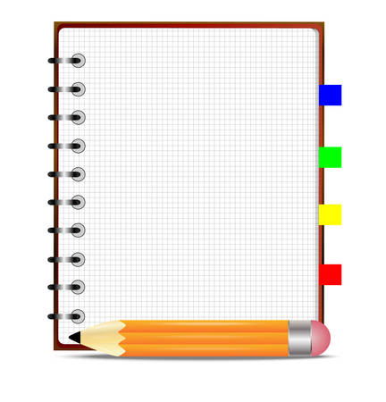 pencil and notebook, on a white background,  vector  illustration
