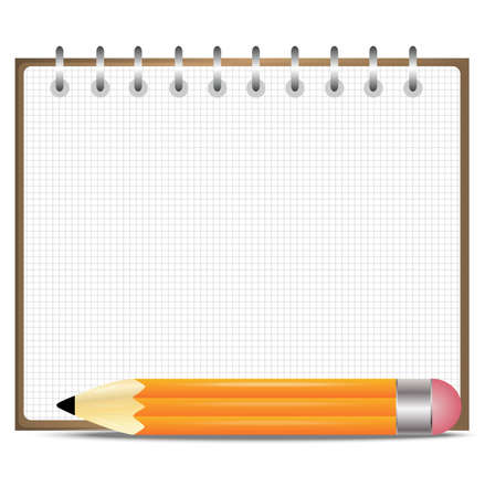 pencil and notebook, on a white background,  vector  illustration Vector