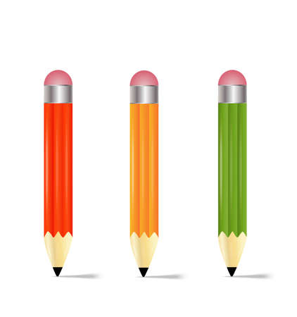 brightly: three pencils  on a white background,  vector  illustration