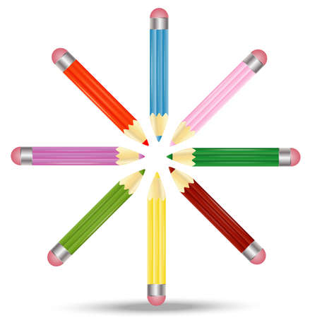 many pencils  are on a white background,  vector  illustration