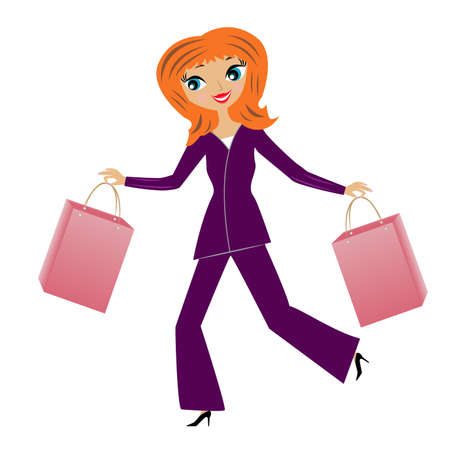 young business woman hurry with purchase home, vector illustration