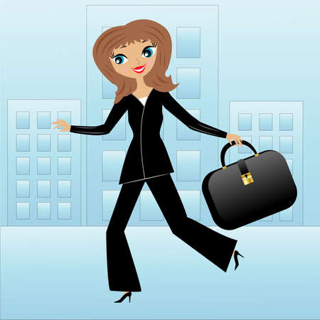 young business woman hurry on work, vector illustration Vector