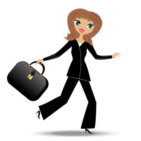 女性実業家: 若いビジネス女性急いで仕事、ベクトル イラスト