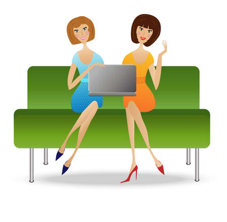 two young woman  with notebook sit on sofa, vector illustration Vector