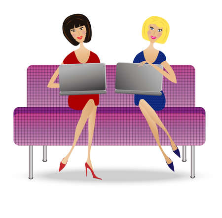 two young woman  with notebook sit on sofa, vector illustration