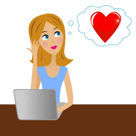 thinks: young business woman  thinks in office about love, vector illustration Illustration