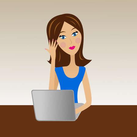 女性実業家: オフィスでは、ベクトル イラスト ビジネス女性仕事