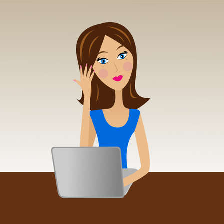 business woman work in office, vector illustration