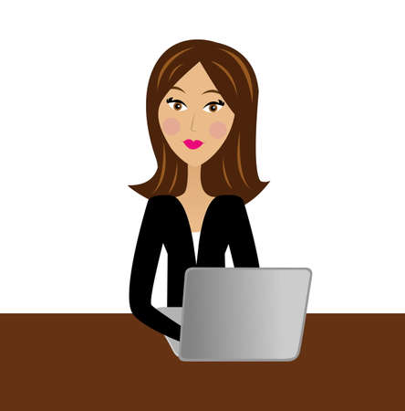 clerks: business woman work in office, vector illustration