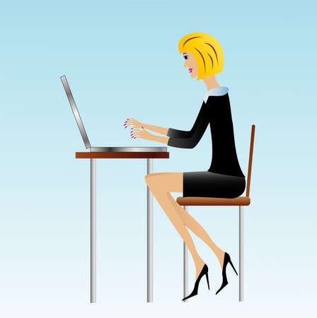 女性実業家: オフィス、ベクトル図でのビジネス女性の仕事