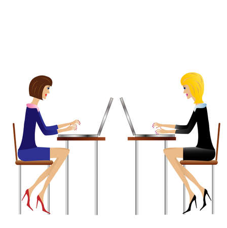 two  business woman work in office, vector illustration Vector