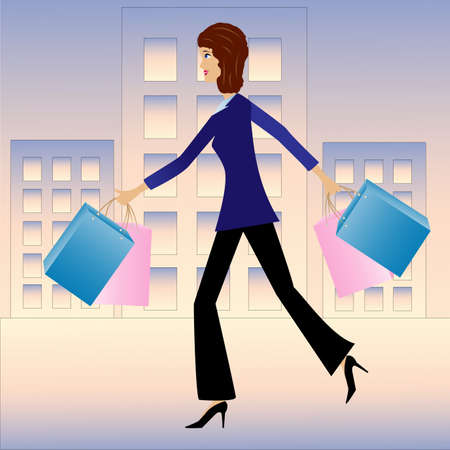 specialist: young business woman hurry with purchase home, vector illustration