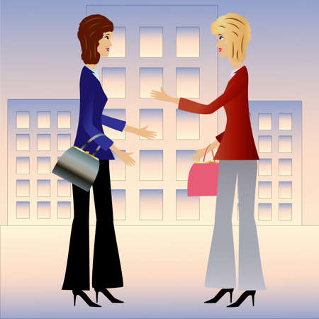 two  business woman speak, vector illustration Vector