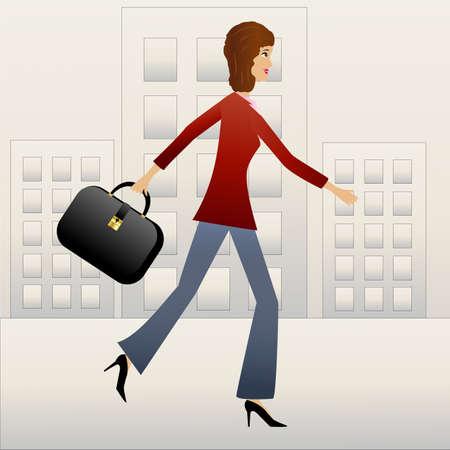 女性実業家: 若いビジネス女性急いで仕事のベクトル図