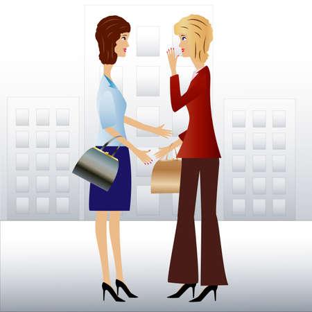女性実業家: 2 つのビジネスの女性の話す、ベクトル イラスト