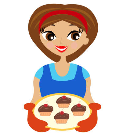 young woman with cake in hand,vector illustration Vector
