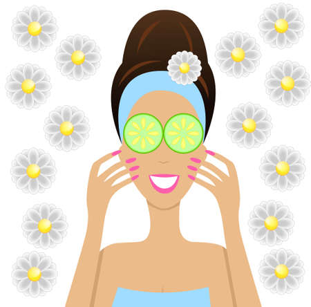 pamper: young woman with cucumbers on eyes, vector illustration
