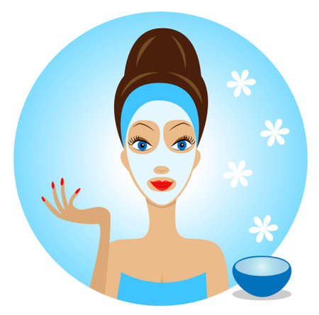 pampering: young woman with a cosmetic mask on face,vector illustration Illustration