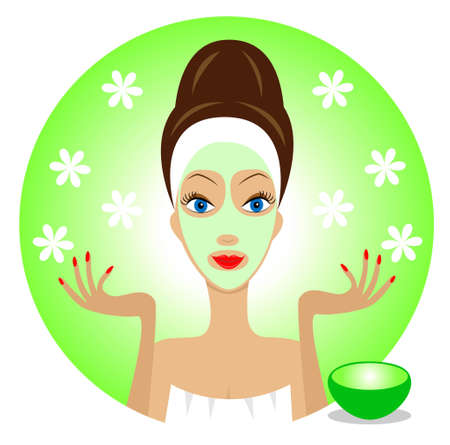 young woman with a cosmetic mask on face,vector illustration Illustration