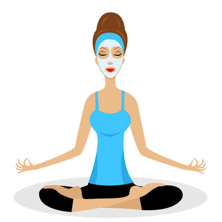 a young woman sits in the pose of lotus with a cosmetic mask on face,vector illustration Vector