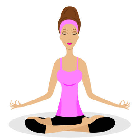 a young woman sits in the pose of lotus,vector illustration Vector