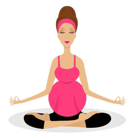 expectant: an expectant mother sits in the pose of lotus,vector illustration