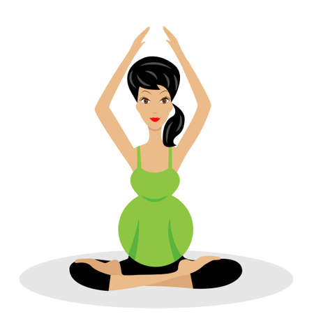 pampering: an expectant mother sits in the pose of lotus,vector illustration