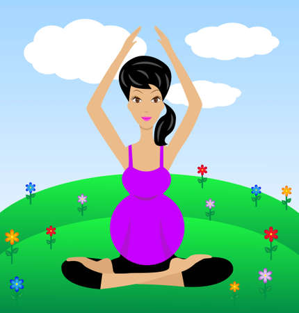 an expectant mother sits in the pose of lotus,vector illustration