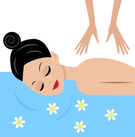 young woman do massage, vector illustration Vector
