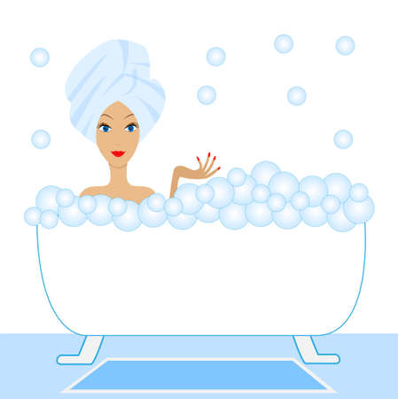 basic care: young woman take a bath with foam, vector illustration