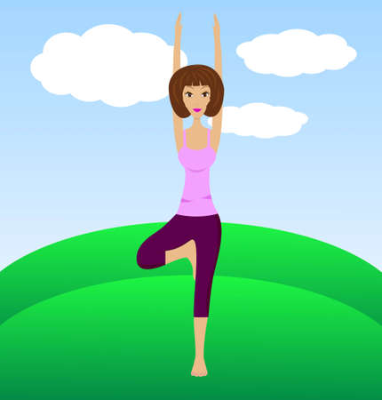 a young woman does physical exercises,vector illustration Vector