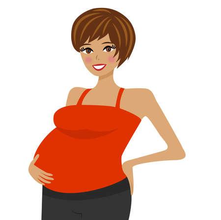 joven mujer embarazada sobre fondo blanco, ilustración vectorial