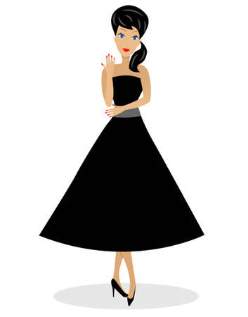 beautiful young woman full length, vector illustration Vector