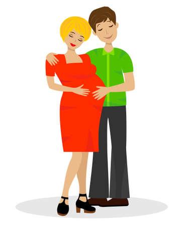 bekleyen: Beyaz zemin üzerine çocuğun beklentisiyle genç evli çift Çizim