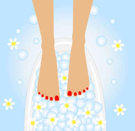 care of feet, birdbaths with the flowers of camomile Фото со стока - 26131309