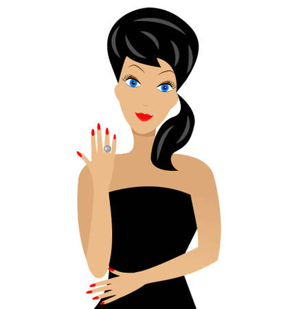 a beautiful woman shows  a diamond ring on a hand Vector