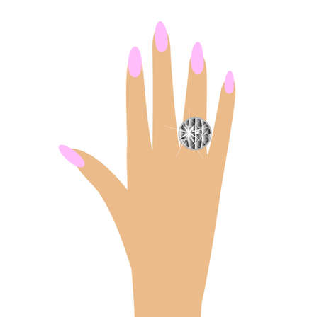 woman hand with a diamond ring Vector